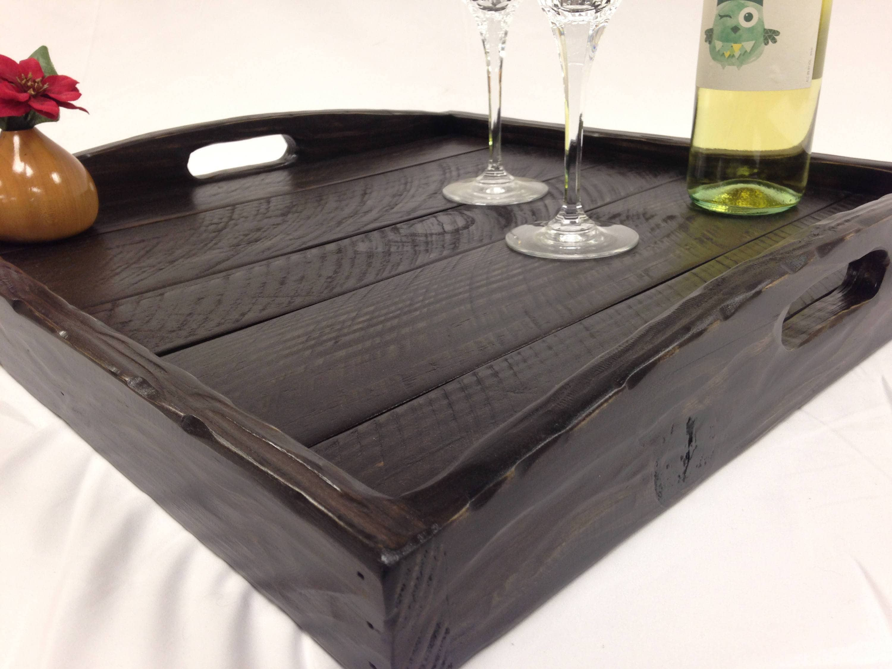 rustic modern oversized ottoman tray table top serving etsy. Black Bedroom Furniture Sets. Home Design Ideas