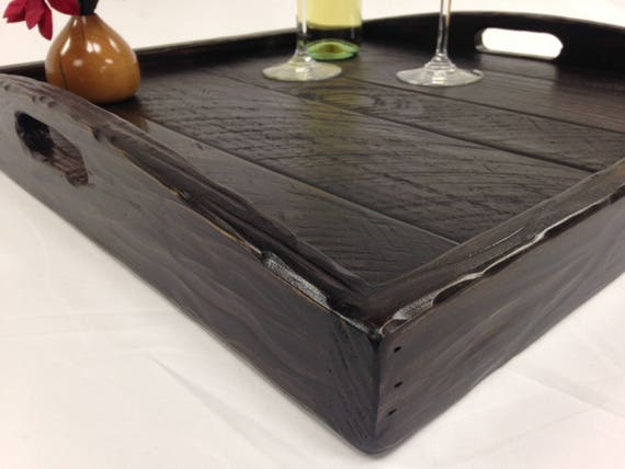 Enjoyable Rustic Modern Oversized Ottoman Tray Table Top With Handles Serving Breakfast Tray Pdpeps Interior Chair Design Pdpepsorg