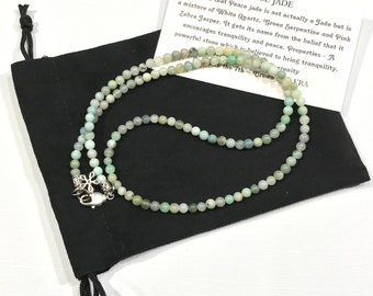"PEACE JADE for CALMING 22"" beautiful handmade necklace with 4mm genuine gemstones"