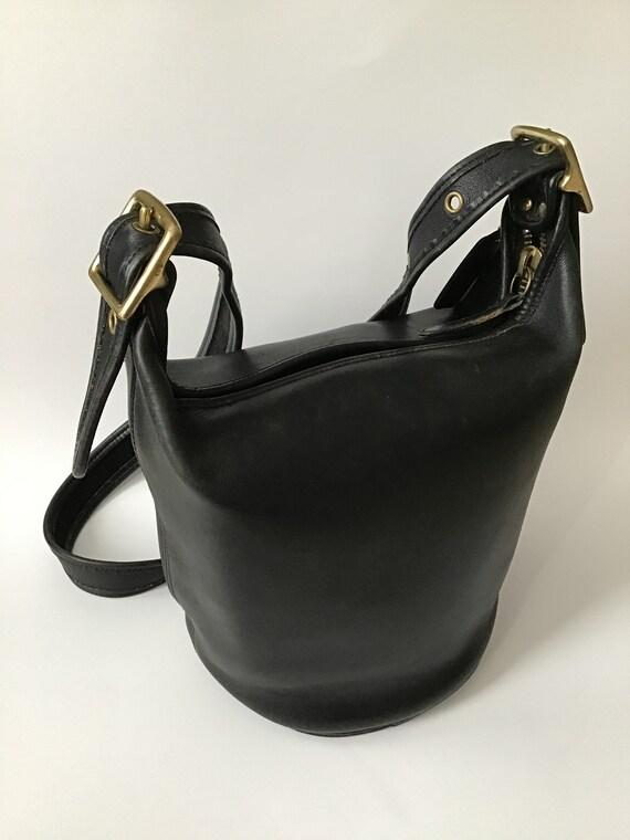 VINTAGE COACH Black Leather BUCKET  Bag Purse