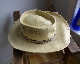 9a96fa0ad287a Vintage Stetson Panama Straw Cowboy Hat