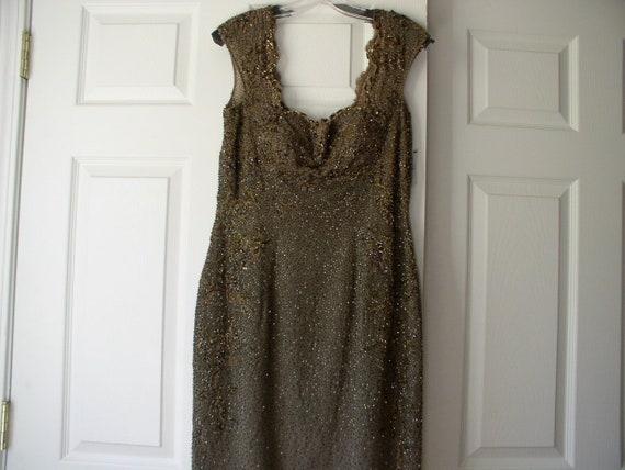Silk chiffon beaded formal dress - image 5