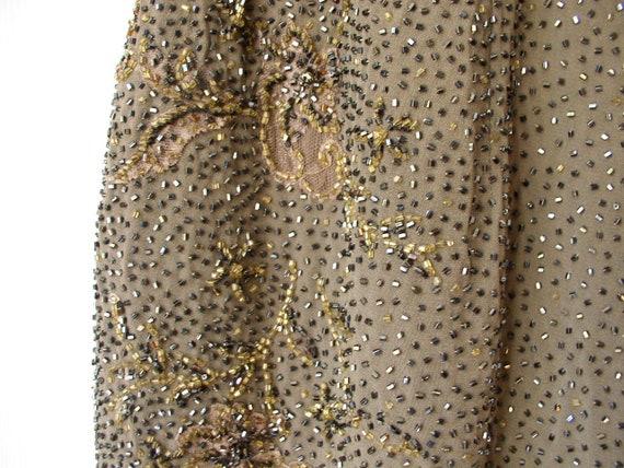Silk chiffon beaded formal dress - image 6