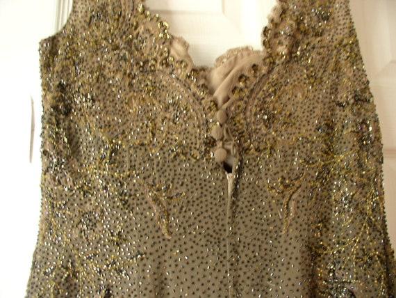 Silk chiffon beaded formal dress - image 3