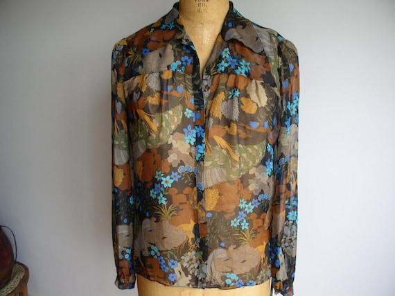 Designer Silk Chiffon Peasant Blouse