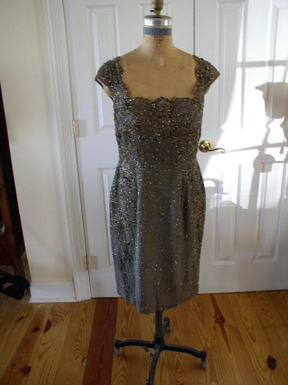Silk chiffon beaded formal dress