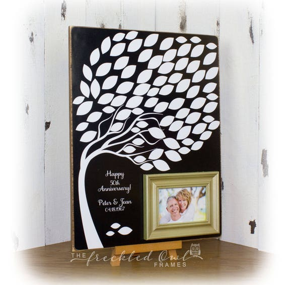 50th Birthday Signature Photo Frame: Large 50th Anniversary Guestbook Frame Anniversary
