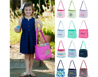 Personalized Easter Basket Monogrammed Easter Basket Personalized Egg Bucket Girls Boys Kids Childrens Embroidered Pink Purple Blue Green