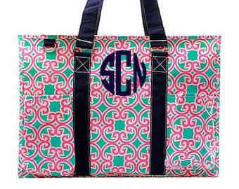 "Monogrammed Aqua Bag Personalized Aqua Bag Personalized Aqua Tote 18"" Organizing Utility Tote Bag"