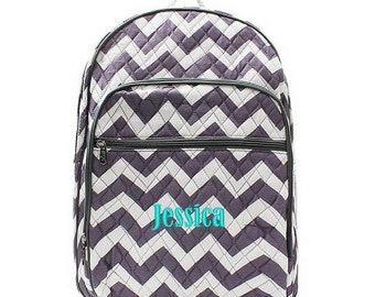 Monogrammed Chevron Backpack Monogrammed Chevron Quilted Backpack Personalized Chevron Backpack Chevron Gray Bag