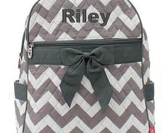Monogrammed Chevron Backpack Monogrammed Chevron Quilted Backpack Personalized Chevron Backpack Chevron Gray White Bag