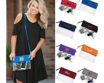 Monogrammed Clear Stadium Bag Personalized Crossbody Clear Bag Clear Purse Clear Tote Football Bag Stadium Purse Game Day Bag Clear Clutch