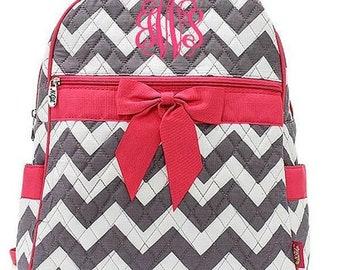 Monogrammed Chevron Backpack Monogrammed Chevron Quilted Backpack Personalized Chevron Backpack Chevron Gray Hot Pink Bag