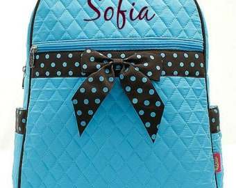 Monogrammed Turquoise Backpack Monogrammed Turquoise Quilted Backpack Personalized Turquoise Backpack Solid Turquoise Brown Bag