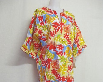 Beach Dress 1970 Caftan Surfer Girl Tiki Caftan Hawaiian Dress Deadstock