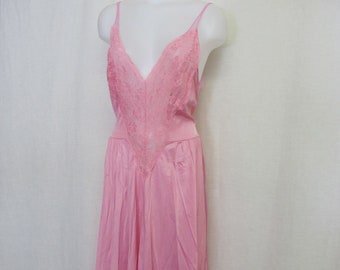 Pink Nightgown 1980 Nylon Nightgown Long Lace Nightgown Rose Quartz Nightgown Larfge