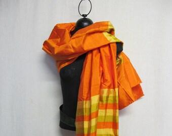 b35ea4da5 Thai Silk Shawl Wrap Siam Silk Scarf Orange