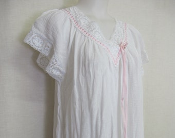 998f2cec846 White Cotton Gauze Nightgown Cotton Lace Nightgown Short Sleeves