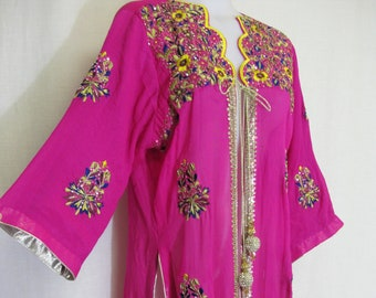 2e8c592c43b Boho Silk Chiffon Tunic Indian Embroidered Sequin Formal Tunic Robe