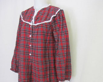 Old Fashioned Flannel Nightgown Lanz of Salzburg Plaid Nightgown Full  Length Cotton 441599d91