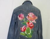 Embroidered Denim Jacket Distressed Jean Jacket Roses OOAK XL