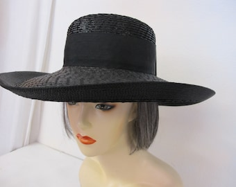 0ff005b7c43 YSL Hat Black Straw Summer Hat Garden Party Yves Saint Laurent Boater
