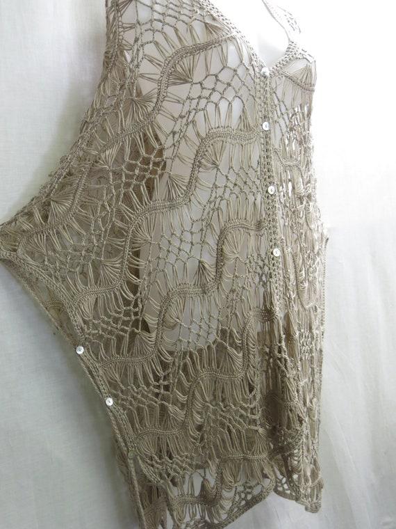 Hippie Crochet Poncho Vest  Boho Crochet Oversize… - image 3