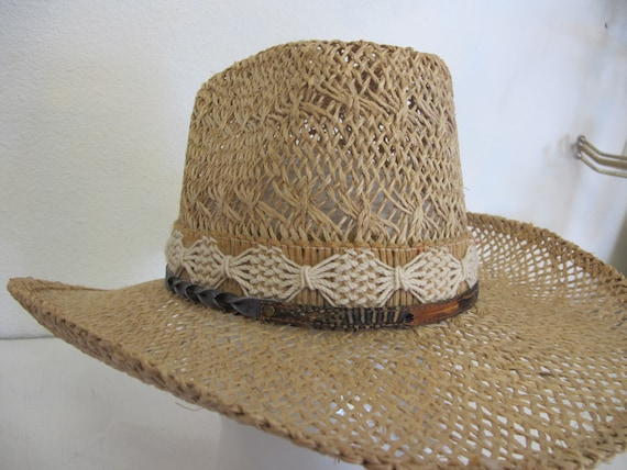 Straw Cowboy Hat Hippie Hat Summer Cowboy Rockabi… - image 6