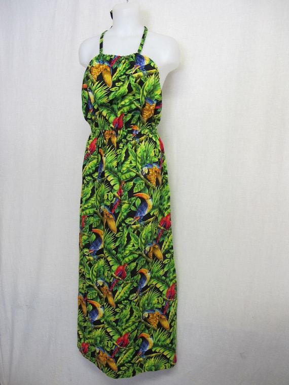 Hawaiian Dress Sun Dress Halter Top Backless Flora