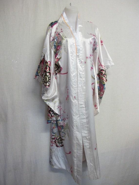 Japanese Silk Kimono Robe 1980's Robe Floral Robe