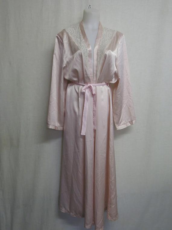 Olga Satin Robe Peignoir Long Sleeve RARE Pink Blu