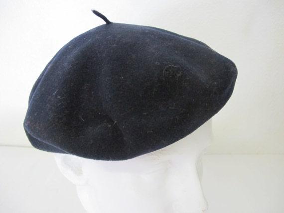 Vintage English Black Beret Kangol Beret Red Wool… - image 4