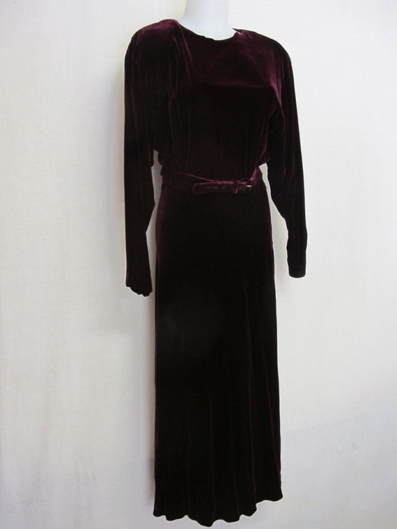 Goth Velvet Dress Maxi  Burgundy Velvet Dress Boh… - image 3