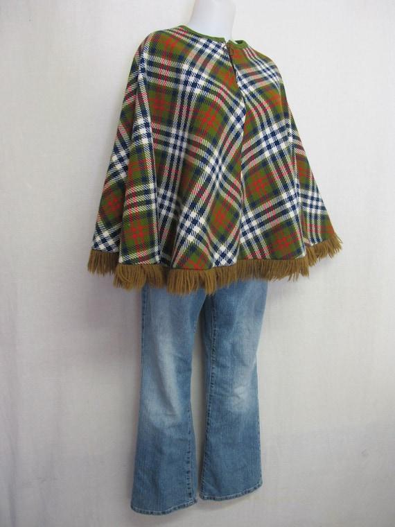 Plaid Poncho Cape Wool Cape Fringe Poncho Mad Men