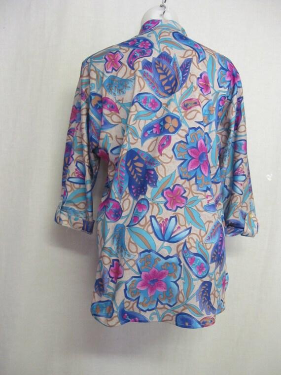 Vera Neumann Blouse Mad Men Blouse Designer Tunic Blouse Size 8