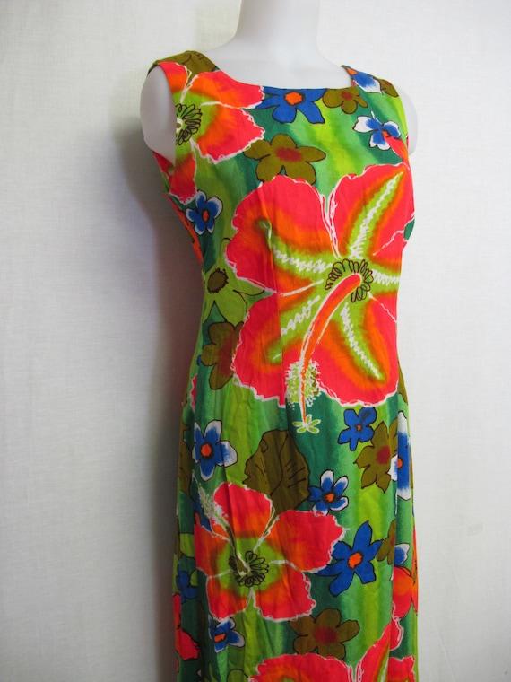 Hawaiian Dress Barkcloth Summer Cotton Dress Sleev