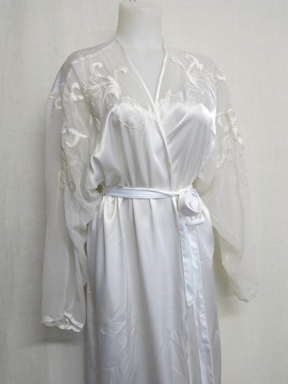 White Satin Robe 1980's Bridal Robe Applique Chiff