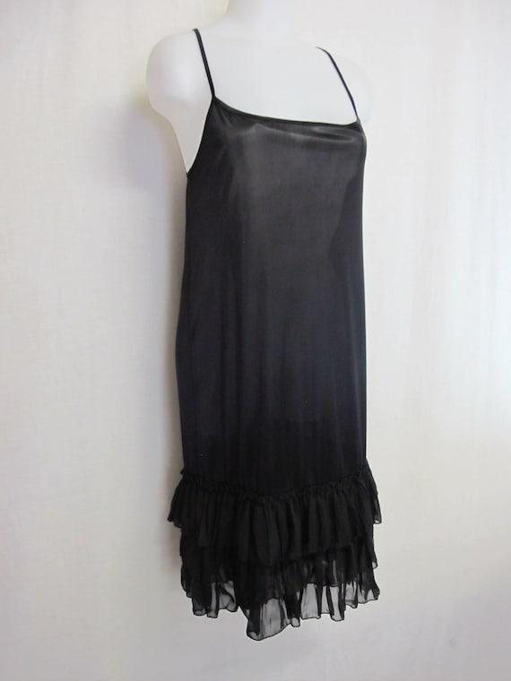 Black Goth Nightgown Sheer Chiffon Ruffle Nightgow