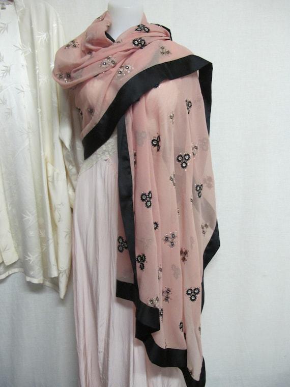 Sari Indian Shawl Chiffon Shawl Embroidered Wrap