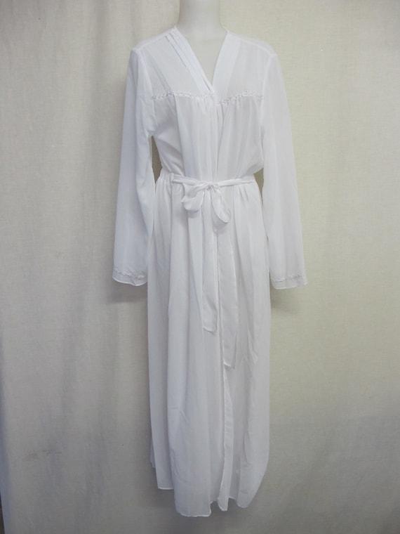 Chiffon Robe Long White Peignoir Sheer  Robe FLORA