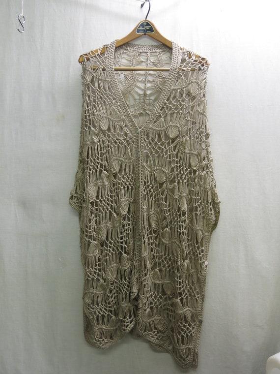 Hippie Crochet Poncho Vest  Boho Crochet Oversize… - image 7