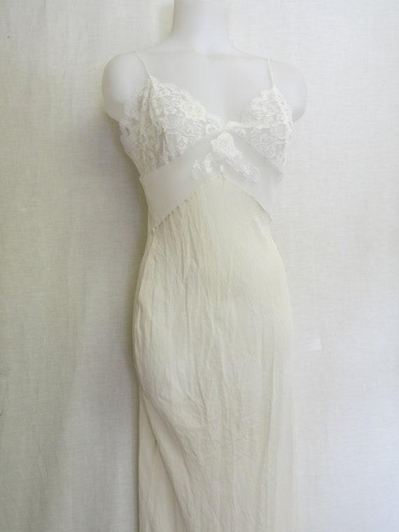 White Silk Nightgown Long Organza Nightgown Bias C