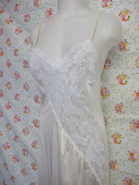 Mad Men White Nightgown Long Lace Nylon Nightgown