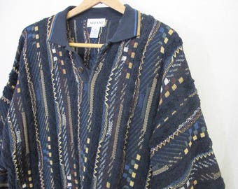 Coogi Style Sweater 1980 Sweater Cotton Knit Sweater Gaucho Sweater Hipster Sweater Italian Sweater