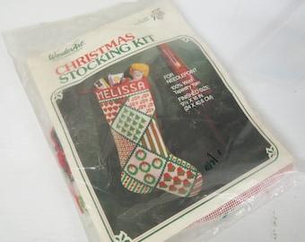 Christmas Stocking Needlepoint Kit Wonderart No. 6896 You can Personalize NEW