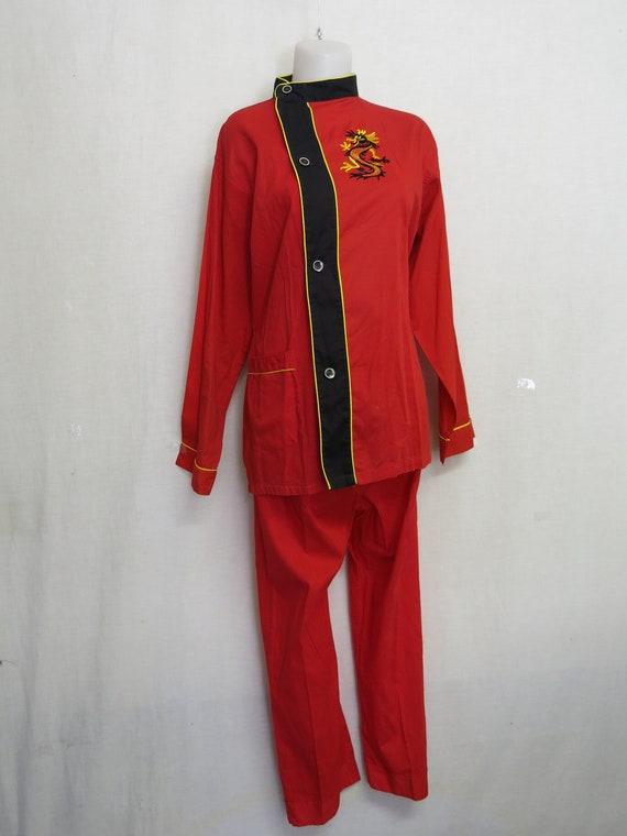 Mid Century Red Chinese Style Cotton  Pajamas Loun
