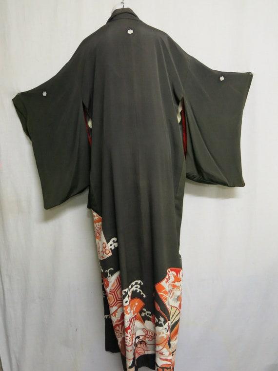 Antique Japanese Kimono Kimono Brown Coral Kimono