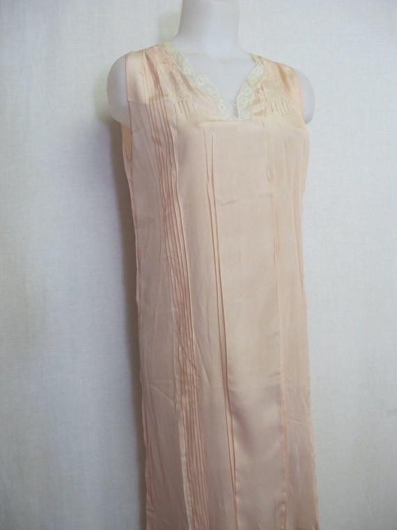 1930's Silk Nightgown French Silk Blush Nightgown