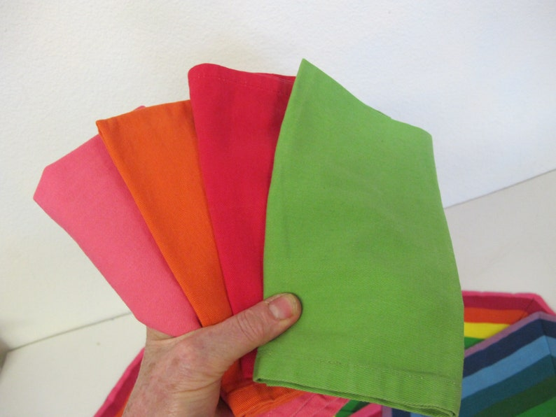 Rainbow Placemats Set  Cotton Napkins Quilted Placemats Set of 4 with Napkins
