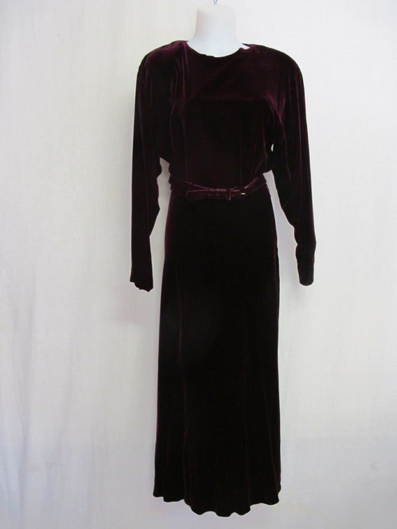Goth Velvet Dress Maxi  Burgundy Velvet Dress Boh… - image 2